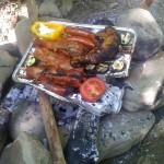 Feuerstelle mit Grillgut