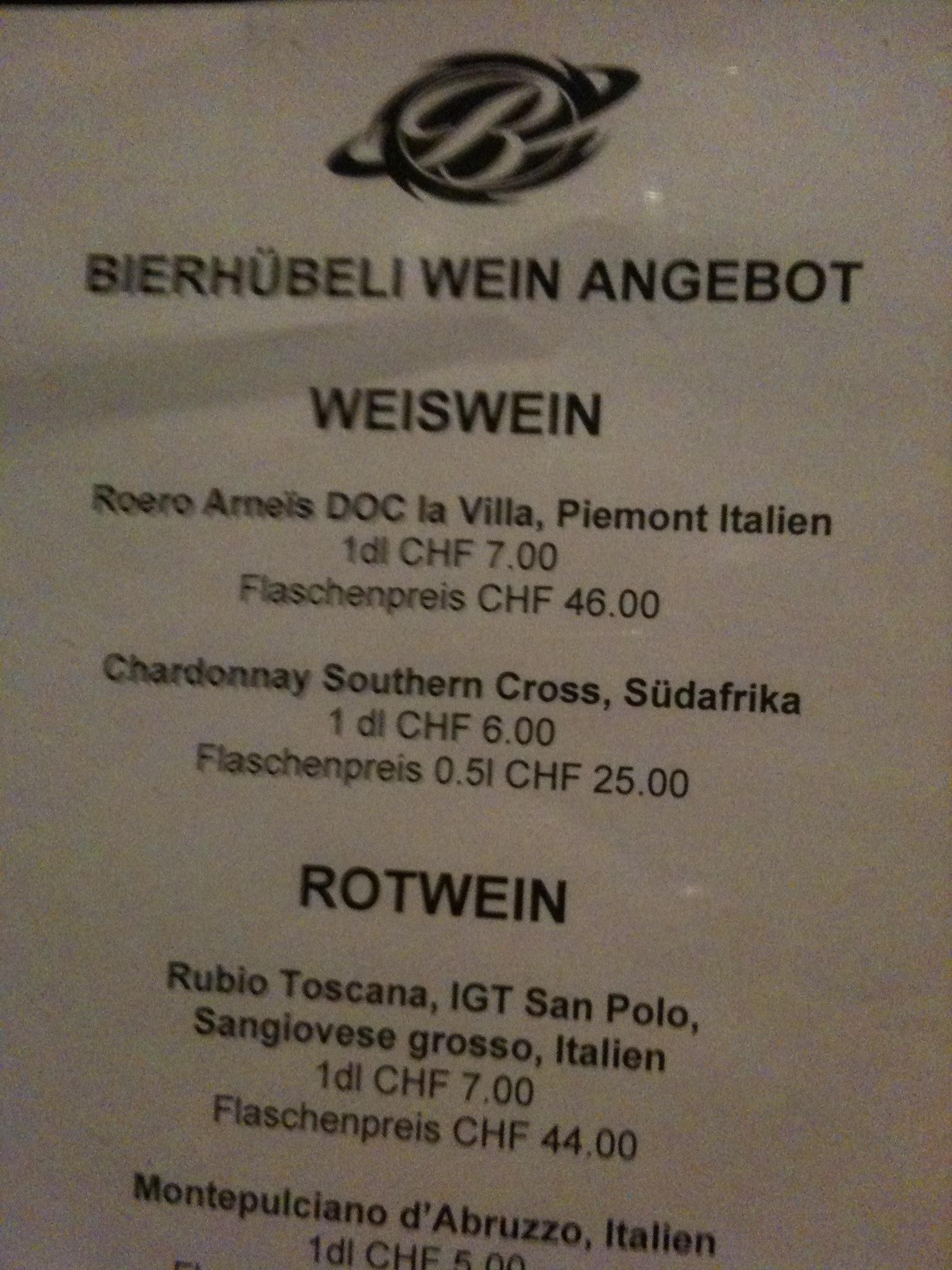 """Weinkarte, welche """"Weiswein"""" feilbietet"""
