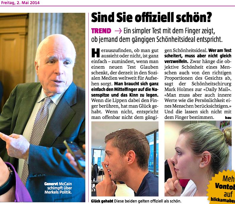"""Artikel im """"Blick am Abend"""" vom 2. Mai 2014"""